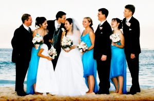 bridal party standing on beach in Sydney