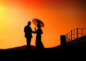 sunset with bride and groom of best wedding photos