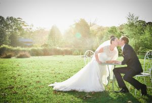 bride and groom kissing at Eagles Rest Valla